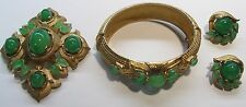 CROWN TRIFARI JEWEL OF INDIA FAUX JADE CABOCHON BRACELET BROOCH EARRING SET