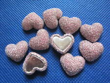 10 x 17MM GLITTER PINK HEART FLAT BACK PHONE CASE HEADBANDS BOWS CARD MAKING
