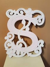 Shabby Chic Room Decor Initial S Painted Wooden Carved Hanging Sign