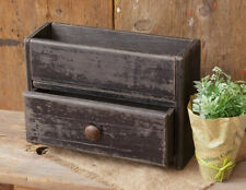 New Country Primitive Black Wooden Box Drawer Cubby Remote Holder Bin