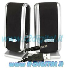 CASSE per NOTEBOOK USB ALTOPARLANTI COMPUTER PC AUDIO 2.0 S2030 MP3 MP4 IPOD