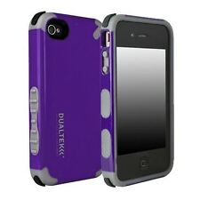 For Apple iPhone 4 4S Case Cover Purple Black Rubber Hybrid Shockproof Shell