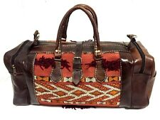 Morocco 100% Leather Duffel Bag Hand sewn Kilim Wool Rugged bag Weekend Luggage