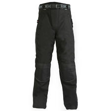 New Mens Black Armoured Waterproof Motorcycle / Motorbike Long Zip Over Trousers