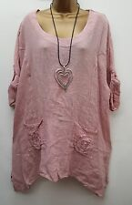 New Ladies Italian Lagenlook Pink Rose Pocket Linen tunic top 14 16 18 20 22 uk