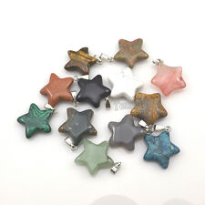 24pcs Star Shape Semi-precious Stone Pendant For Necklace DIY Mixed Lot