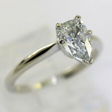 Diamond engagement ring 14K white gold solitaire H color pear brilliant .90CT!!