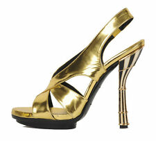 $1,575 BALENCIAGA SHOES SANDALS ENAMEL GOLD LEATHER 37 /US 6.5