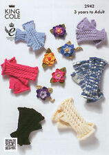 King Cole 2942 Knitting Pattern Fingerless Gloves & Corsage. 3 years to adult.