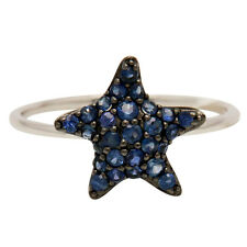 14K WHITE GOLD PAVE BLUE SAPPHIRE STARFISH STAR ANIMAL COCKTAIL FASHION RING