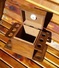 Vintage Wooden Smoking Six Pipe Rack Holder w/ Tobacco Humidor - Like New!