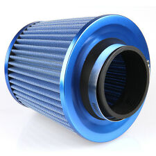 """3"""" Blue Washable Inlet Cone Cold Air Intake Filter + Clamp Breather Reuseable"""