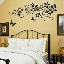 Large Black Flower Vine Butterfly Home decor Art Decal Removable Wall Stickers