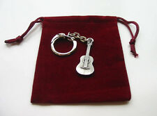 Acoustic Guitar Keyring Music Gift Rock Jazz Country Band Musician FREE POUCH