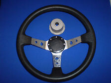 "Black and Silver padded deluxe Boat steering wheel with Marine 3/4"" HUB"