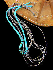 2 SANTO DOMINGO KHE-WA ~ STERLING SILVER TURQUOISE & SHELL HEISHE NECKLACES