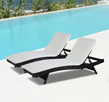 Patio 2 Adjustable PE Rattan Wicker Chaise Chair Lounge Furniture W/ Cushio