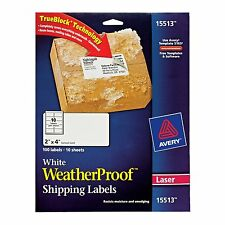 Avery WeatherProof Labels for Laser Printers,2 x 4 Inc,White,Pack-100(15513) AOI