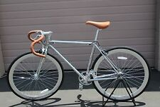 R4 CHROME SINGLE SPEED URBAN ROAD BIKE W/ FLIP FLOP HUB 50CM