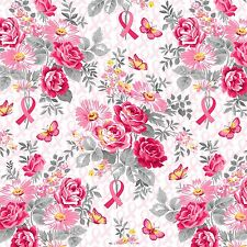 Pink Floral, Butterflies, Ribbons, Breast Cancer Awareness, Windham By 1/2 yd