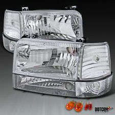 92-96 Ford F150/250/350 Bronco Euro Chrome Clear Headlights Bumper Corner Lamps