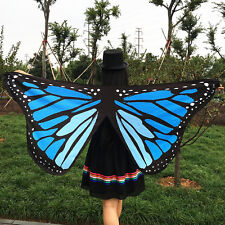 Women Teens Fabric Butterfly Wings Fairy Ladies Nymph Pixie Costume Accessory UK