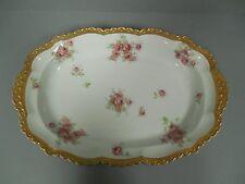 J.P.L. Pouyat Limoges France Pink Cabbage Roses Porcelain Platter