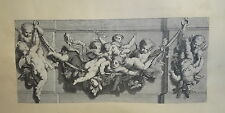 GRANDE Gravure XVIII° ORNEMENT ATTRIBUT ANGE PUTTI CHERUBIN CUPIDON DECORATION a