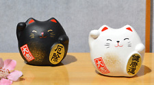 2 Maneki Neko Feng Shui Lucky cats black for protection white for health