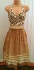 COAST TRAVIETTA STRAPLESS / HALTER GOLD SILK 50'S DRESS SIZE 10 NWOT £160