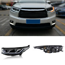For Toyota Highlander 14-16 Xenon Headlights LED Light Pipe DRL+Cornering Lamps