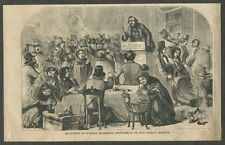 1858 Antique Print of an Auctioneer / Auction of Splendid Household Furniture