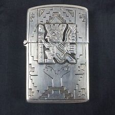 Vintage Early 1950s Zippo Lighter Sterling Silver 925 Aztec / Mayan Design Peru