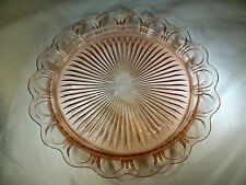 """HOCKING GLASS OLD COLONY LACE EDGE PINK 13"""" DIAMETER SOLID LACE SERVING PLATE!"""