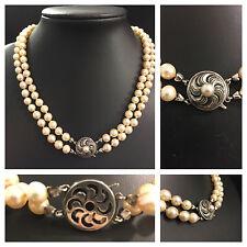 Doppelreihige Perlenkette Perlencollier zweireihig 46cm 835er Silber Verschluß