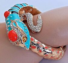 ~WOW! Runway Designer Couture Collection Aqua Snake/Serpent CUFF BRACELET
