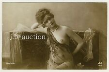 LOVELY WOMAN IN SHEER NEGLIGÉE PRESENTING NUDE BREAST Akt * Vintage 10s Photo PC