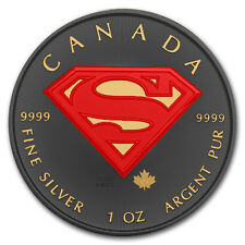 9999 Silver Superman Coin Ruthenium Plated Gold Gilded and Colorized Golden Noir