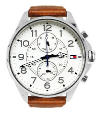 Tommy Hilfiger 1791274 White Day Date Analog Dial Brown Leather Band Watch New