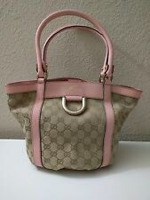 NEW Gucci Handbag Small Tote- Pink Leather Trim, Sand GG Fabric w/ Dust Bag