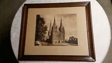 """Vintage """" CAMPBELL ART CO. PRINT of the LITCHFIELD CATHEDRAL """" Framed"""