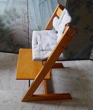 STOKKE Tripp Trapp Chair Model 461 Natural Wood Color w 2 Cushions Danish Modern