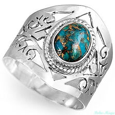 Sterling Silver Ring 925 Turquoise Gemstone Genuine Spirals Wide Band Size 8