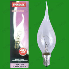 12x 40W Clear Bent Tip Dimmable Candle Light Bulbs, SES, E14, Small Screw Lamps