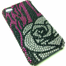 Apple iPhone 4 4S Crystal Diamond BLING Hard Case Phone Cover Blk Pink Sil Rose