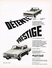 PUBLICITE ADVERTISING 054  1964  CHRYSLER   PLYMOUTH   DAR & FURY