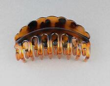 "Brown tortoise hair clip scalloped edge plastic barrette jaw claw clamp 4"" long"