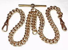 ANTIQUE HEAVY 18CT ROLLED GOLD DOUBLE ALBERT POCKET WATCH CURB CHAIN
