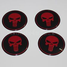 "Auto 4PCS 56.5MM(2.22"") The Punisher Red Wheel Center Cap Sticker Skull Emblem"