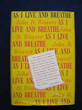 As I Live & Breathe SIGNED by Author to 'Marty' Director DELBERT MANN
